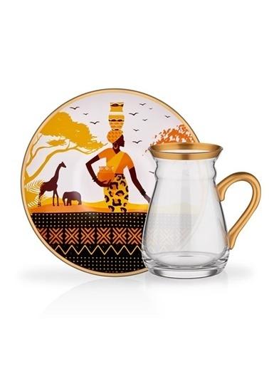 Glore Glore Nihavent Africa 6'Lı Kuplu Çay Seti Renkli